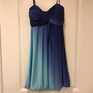 Blue Strapless Knee Length Dress Prom Party Fancy